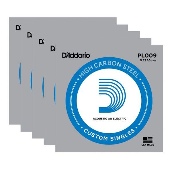 D'ADDARIO PL009 - Set di 5 Singole per Acustica o Elettrica Plain Steel (009)