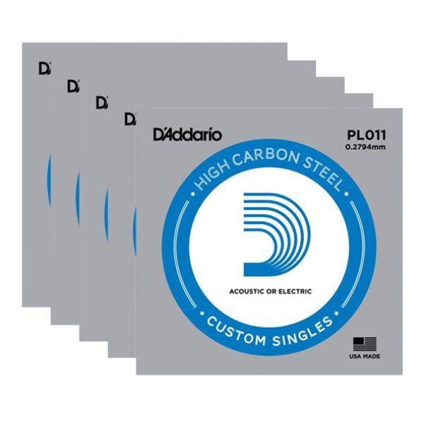 D'ADDARIO PL011 - Set di 5 Singole per Acustica o Elettrica Plain Steel (011)