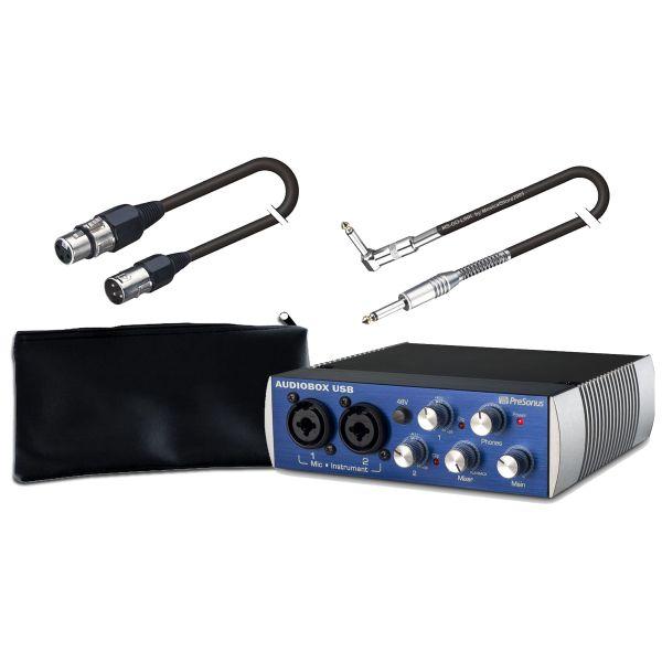 PRESONUS RECORDING PACK AudioBox USB 2x2 / Cavo XLR/XLR 5mt / Cavo Jack/Jack Angolato 6mt