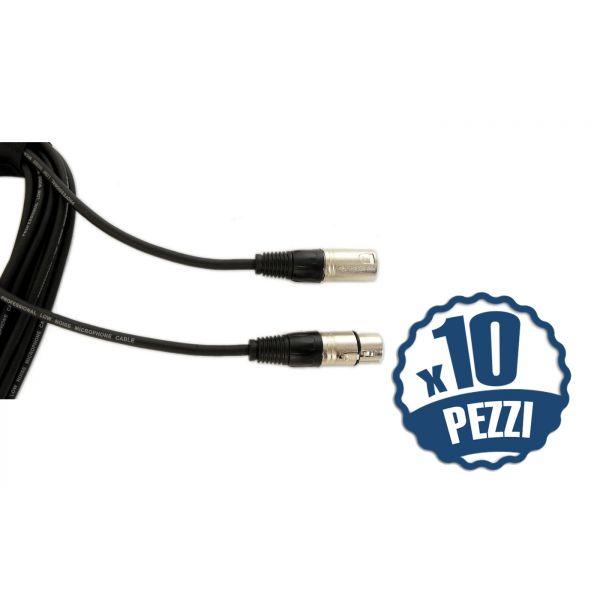 QUIKLOK Cavo Bilanciato XLR/XLR 9mt per Microfono (Set da 10pz)