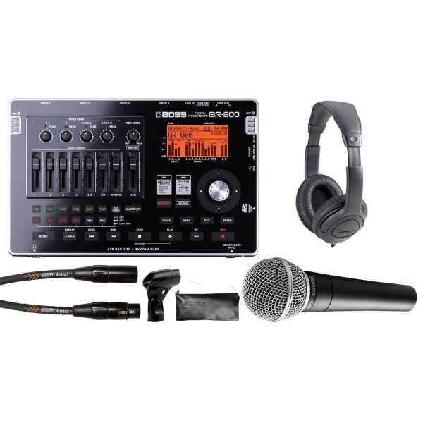 BOSS RECORDING PACK BR800, SHURE SM58, Cuffie, Cavo