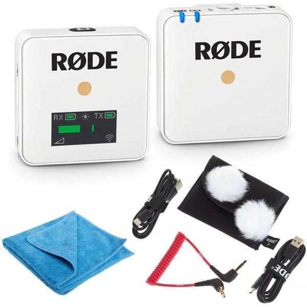 Rode Wireless GO Bianco Bundle Microfono Wireless con Panno in Microfibra