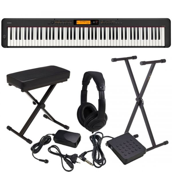 Casio CDP S350 Set - Pianoforte Digitale con Supporto Panca e Cuffie