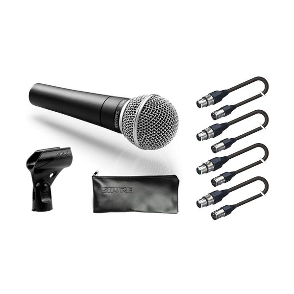 SHURE Set 4 Microfoni Shure SM58 / 4 Cavi Audio XLR/XLR 5mt Bundle