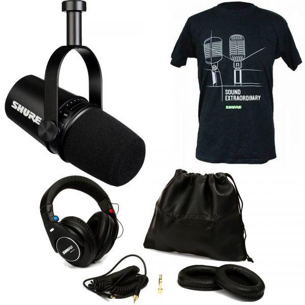 Shure Bundle Podcast Motiv MV7 Microfono con SRH840 Cuffie e T-Shirt Nera