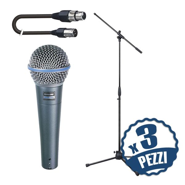 Shure Beta 58A Pack per Coristi: Microfoni / Aste / Cavi x 3