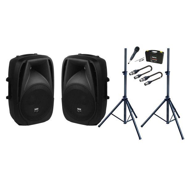 Coppia Casse Attive / Microfono / Stativi / Cavi XLR/XLR 5mt