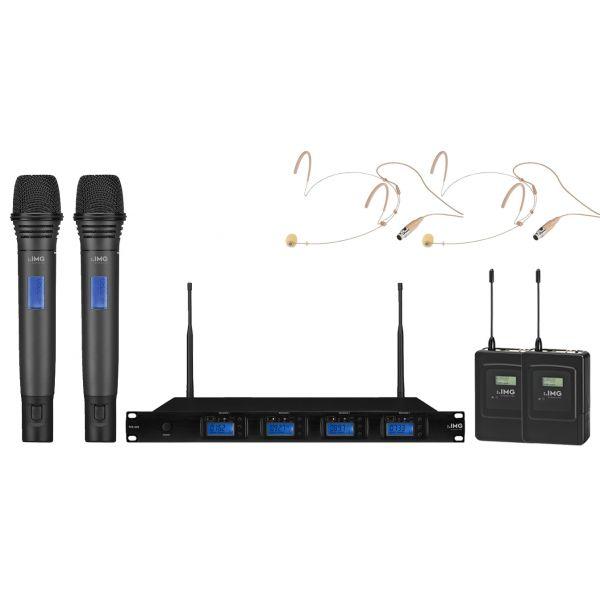 IMG Sistema Microfonico Wireless Professionale UHF 1000 Canali / 2 Headset / 2 Palmari