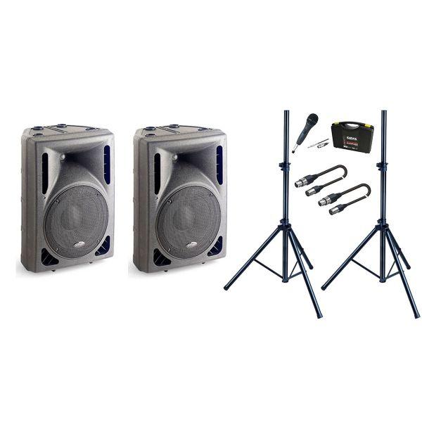 Sistema Audio Completo di 2 Casse Attive / 1 Microfono / 2 Stativi / 2 Cavi