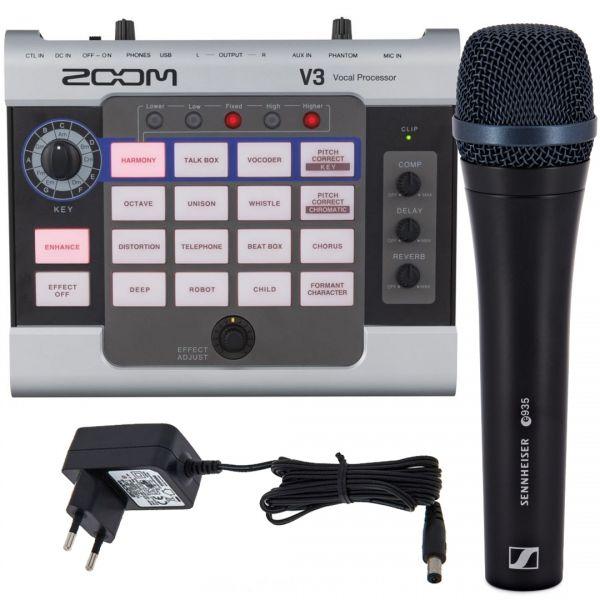Zoom V3 Processore Vocale Usb con Sennheiser e935 Microfono e Alimentatore per Pedali