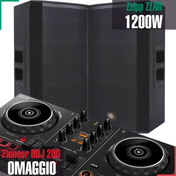 ZZIPP ZZAR112 (Coppia) Diffusori Attivi per DJ 1200W + (Pioneer DDJ200 OMAGGIO)