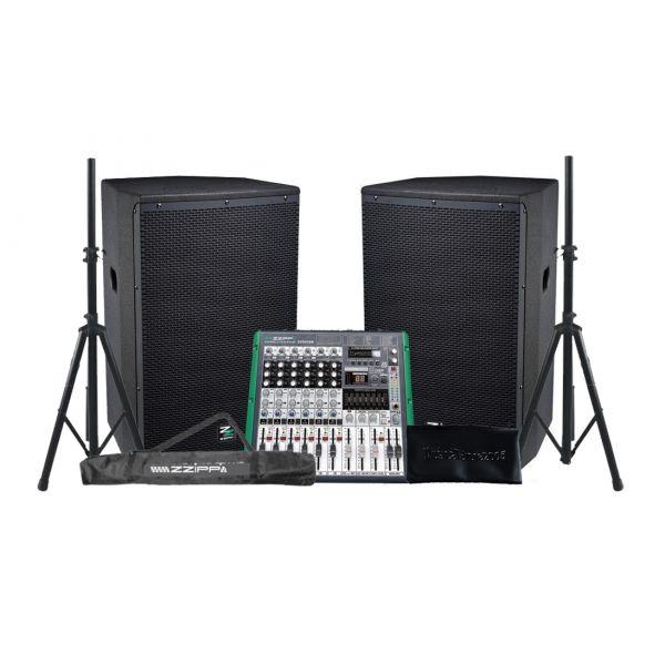 ZZIPP Audio System PA 2600W Diffusori Amplificati / Mixer / Supporti