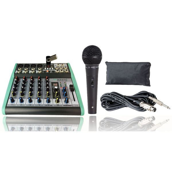 ZZIPP ZZMXBTE6 Set Mixer 6 Ch, lettore MP3 / USB, Bluetooth, Microfono DJ e Karaoke