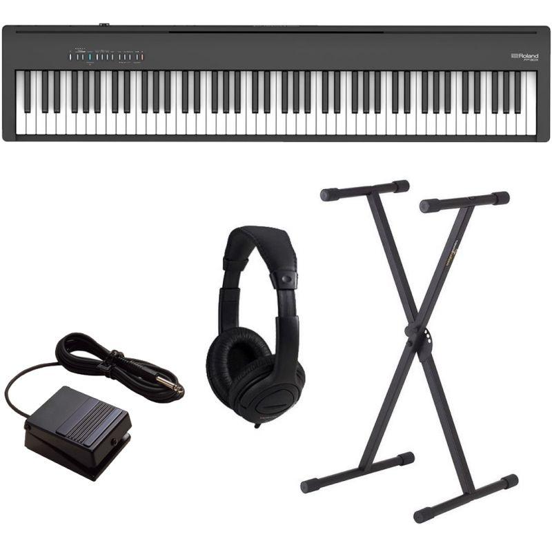 Roland FP-30X Nero Pianoforte Digitale Portatile 88 Tasti con Stand e Cuffia