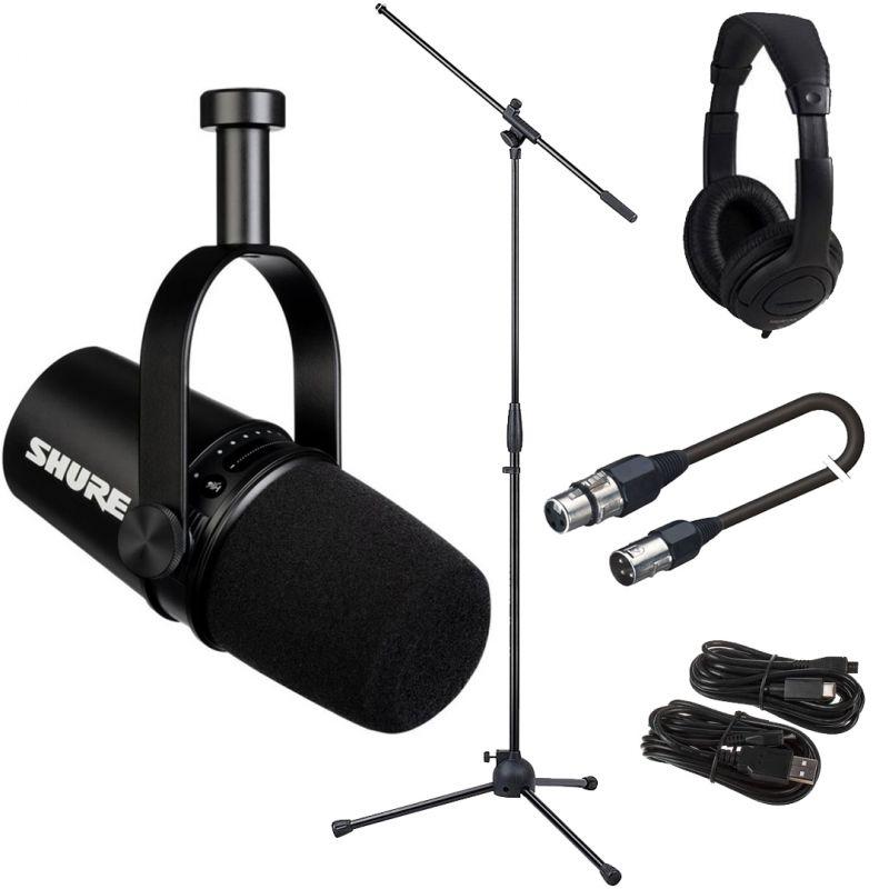 Shure Motiv MV7 Black Bundle Microfono per Podcasting con Cavo XLR Asta e Cuffia