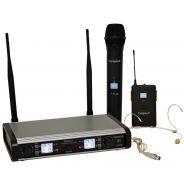 BESPECO GM9882HP Doppio Radiomicrofono Wireless Palmare + Headset UHF