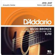 D'addario Ej10 80/20 Muta corde per Chitarra Acustica cordiera (010-047)