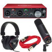 Focusrite Scarlett 2i2 Studio 3rd Gen Scheda Interfaccia Audio MIDI USB 2in/2out con Cuffie e Microfono a Condensatore
