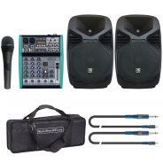 "Kit Completo da 8"" 220W Impianto Audio Karaoke Dj"