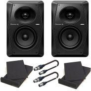 Pioneer VM-70 Black Bundle Studio Monitor Attivi (Coppia)/Pad Isolante/Cavi XLR