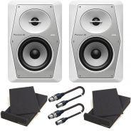 Pioneer VM-50 White Bundle Studio Monitor Attivi (Coppia)/Pad Isolante/Cavi XLR