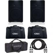 QSC CP12 (Coppia) Cassa Attiva Biamplificata 1000W / Borse / Cavi