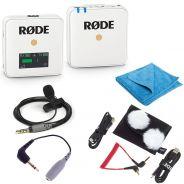 Rode Wireless GO Bianco Bundle Microfono Wireless con Smartlav+ SC3 e Panno