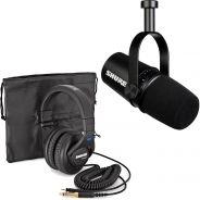 Shure Motiv MV7 Black Bundle Microfono Podcasting + SRH440 Cuffie Professionali