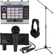 Zoom V3 Bundle Processore Vocale Multieffetto con Microfono Voce Asta e Cuffia