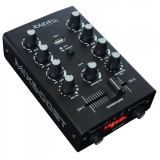 0 Ibiza MIX500BT 2-Channel USB Mixer with Bluetooth