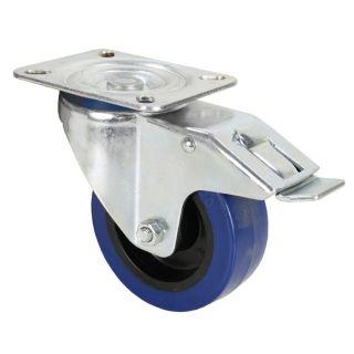 0 Adam Hall Hardware 372191 - Ruota Orientabile 100 mm con Ruota blu e Fermo