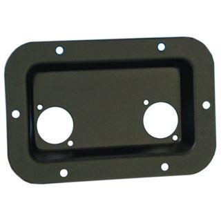 0 Adam Hall Hardware 8708 BLK - Piastra di Montaggio nera per 2 XLR o Prese Speakon