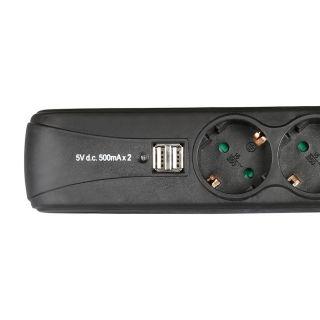 Ciabatta 3 prese, interruttore e USB
