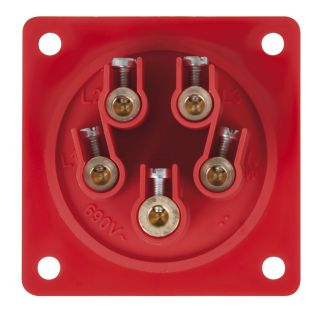 1 PCE - CEE 16A 400V 5p Socket Male - Rosso, IP44