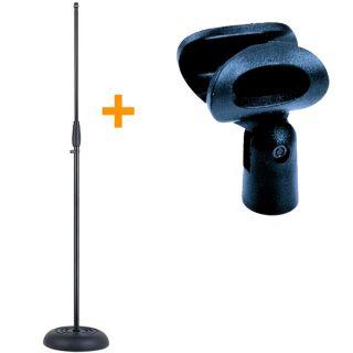 Asta con Base Dritta + Clip Porta Microfono