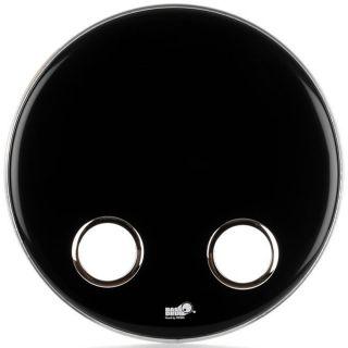 """Bass Drum O's ES-2024C - Pelle Nera per Grancassa Ebony 20"""" con Fori"""