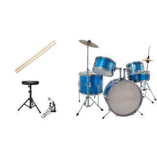 Batteria Acustica Junior Blu 5 pezzi Completa di Accessori