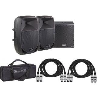 Soundsation Set Sistema Audio Completo 2960W - Speaker Bi-amp/Sub/Cavi/Borsa