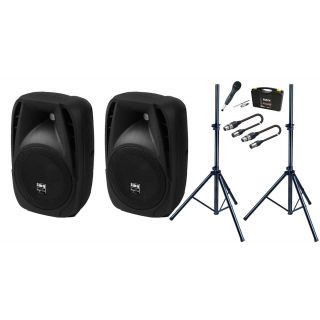 Set Casse attive + Microfono + Stativi + Cavi XLR/XLR