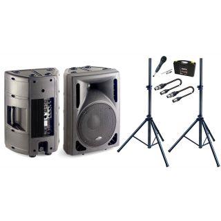Set Casse attive + Microfono + Stativi + Cavi XLR/XLR Bundle