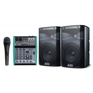 Alto Professional TX208 (Coppia) con Mixer 4 Ch e Microfono