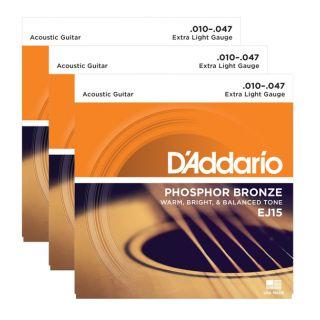 D'ADDARIO EJ15 - 3 Mute per Acustica Phosphor Bronze Extra Light (010/047)