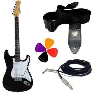 EKO S300 Black Pack - Kit Chitarra Elettrica Tipo Stratocaster con Tracolla, Cavo e Plettri