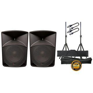 EXTREME Impianto Audio Completo Diffusori Attivi / Stand / Cavi XLR/XLR Bundle