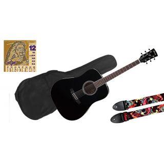 Ibanez PF 15 Black Pack - Chitarra Acustica / Borsa / Tracolla / Muta
