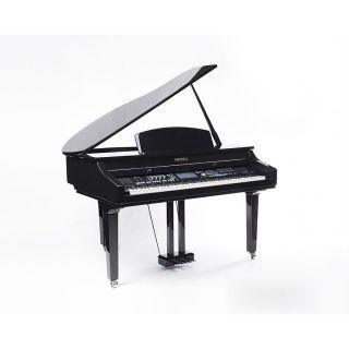 """1 MEDELI GRAND 1000 - Pianoforte Digitale A Coda Con Tastiera A 88 Tasti Hammer Action, Finitura In Nero Laccato E Display Con Touch Screen A Colori Ad Alta Definizione Da 7""""."""