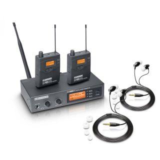 0 LD Systems MEI 1000 G2 BUNDLE - Sistema di monitoraggio in-ear senza fili con 2 x trasmettitore da cintura e 2 x cuffie in-ear