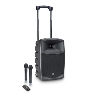 0 LD Systems ROADBUDDY 10 HHD 2 B5 - Battery-Powered Bluetooth Speaker with Mixer and 2 Wireless Microphones