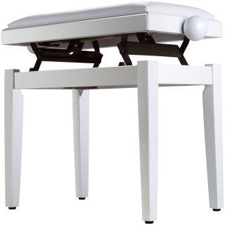 Panchetta Bianca Regolabile per Pianoforte / Seduta Imbottita Rivestita in Sky02