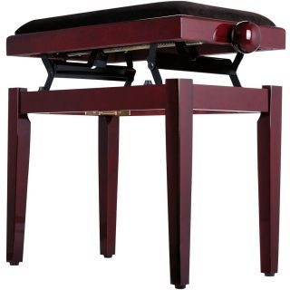 Panchetta Regolabile in Mogano Lucido per Pianoforte / Seduta in Velluto02